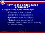 how is the cadet corps organized
