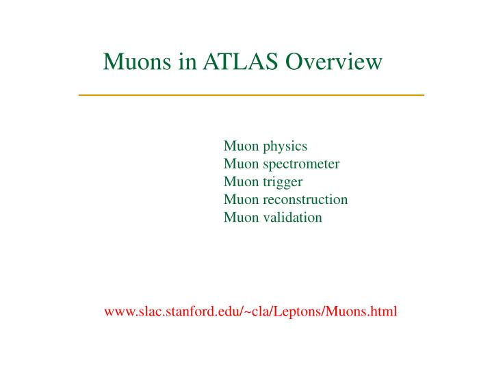 Muons in ATLAS Overview