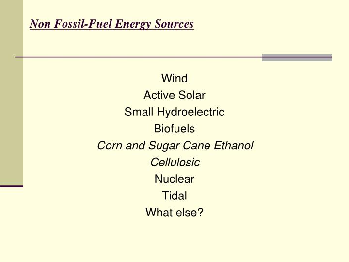 Non Fossil-Fuel Energy Sources