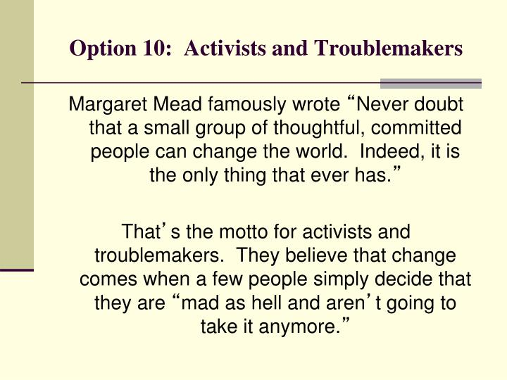 Option 10:  Activists and Troublemakers