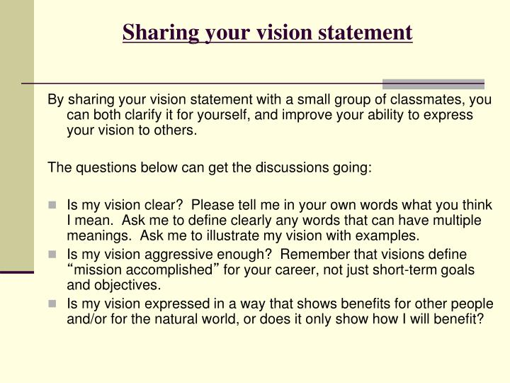 Sharing your vision statement