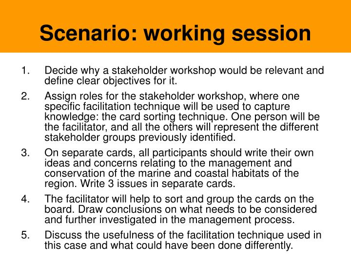 Scenario: working session