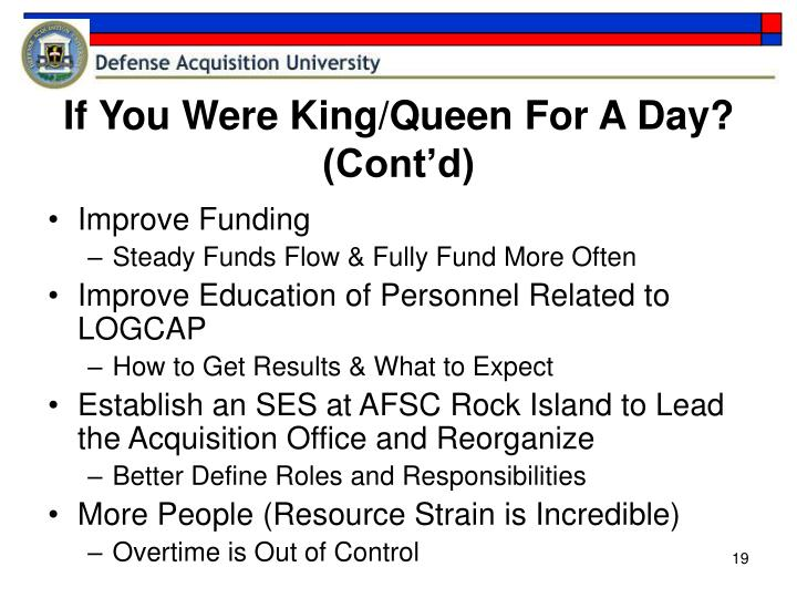 If You Were King/Queen For A Day? (Cont'd)