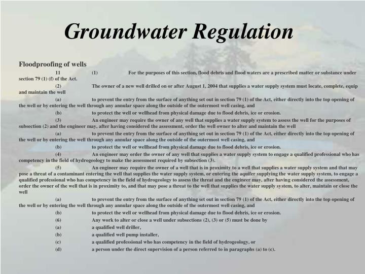 Groundwater Regulation