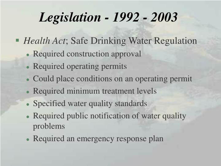 Legislation - 1992 - 2003