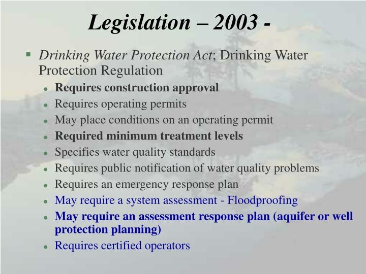 Legislation – 2003 -