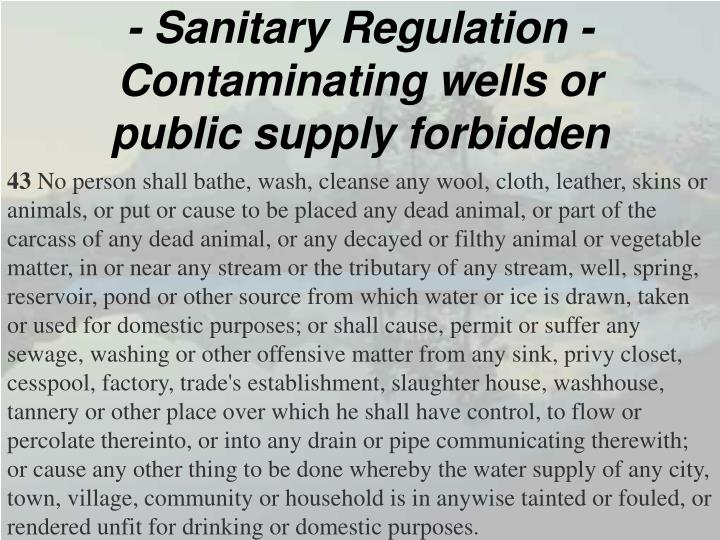 - Sanitary Regulation -