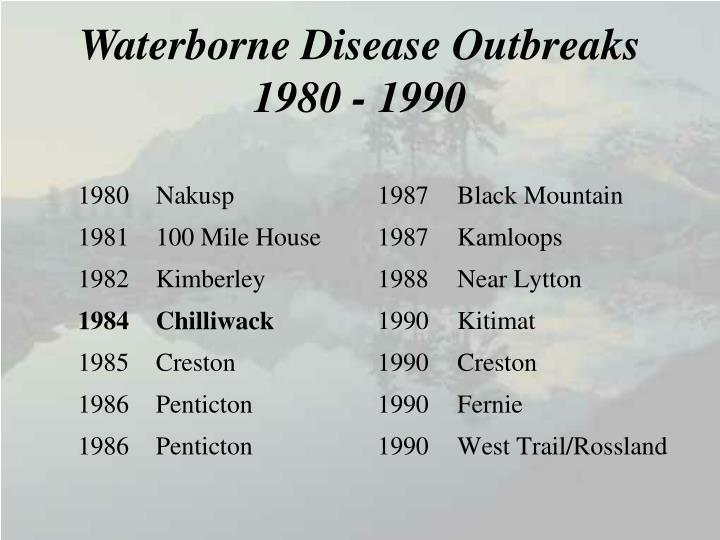 Waterborne disease outbreaks 1980 1990