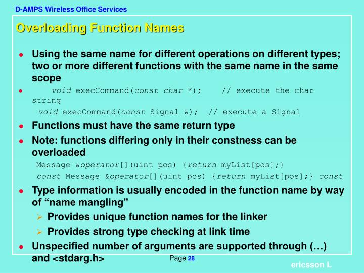 Overloading Function Names