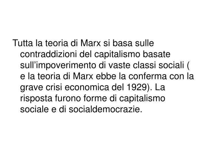 Tutta la teoria di Marx si basa sulle contraddizioni del capitalismo basate sull'impoverimento di vaste classi sociali ( e la teoria di Marx ebbe la conferma con la grave crisi economica del 1929). La risposta furono forme di capitalismo sociale e di socialdemocrazie.