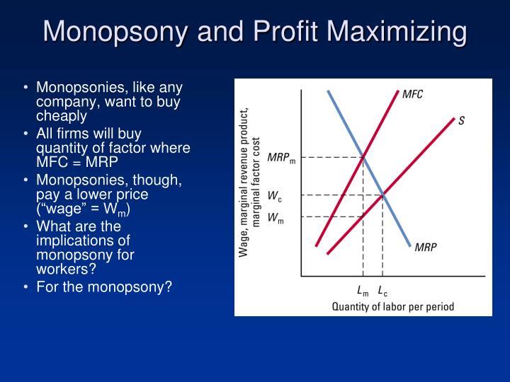 Monopsony and Profit Maximizing