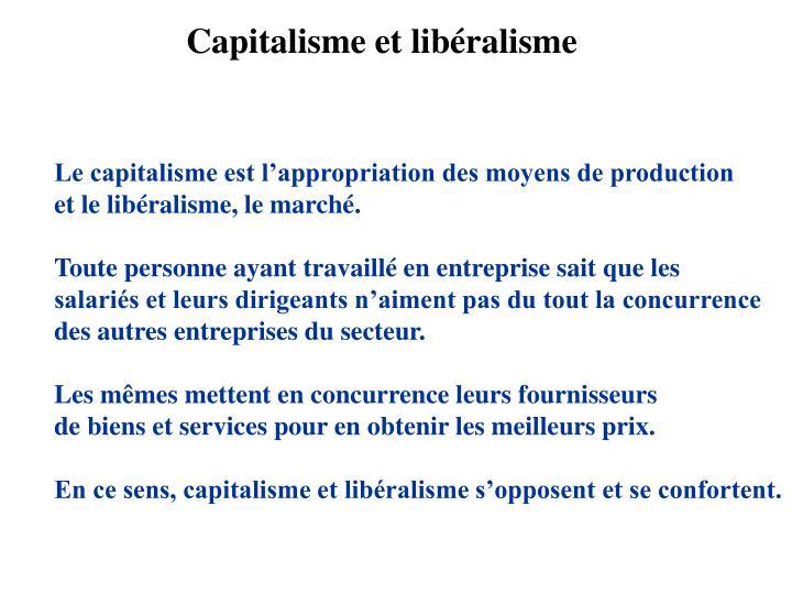 Capitalisme et libéralisme