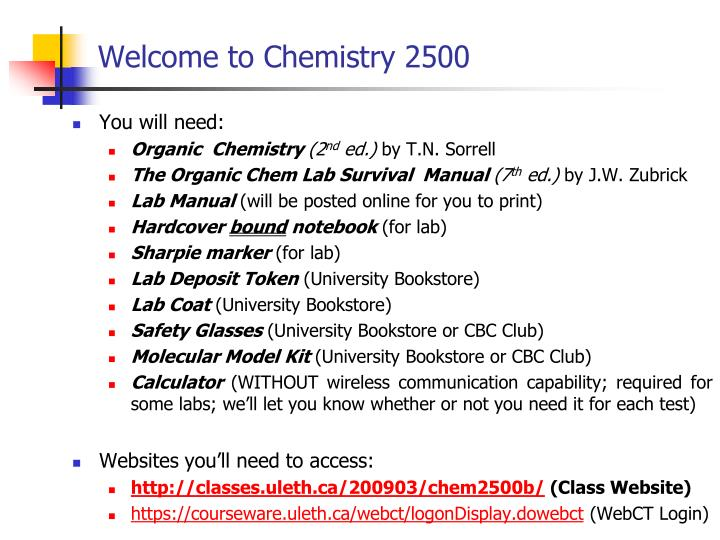 Welcome to chemistry 2500