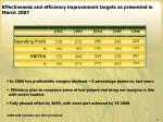 effectiveness and efficiency improvement targets as presented in march 2007