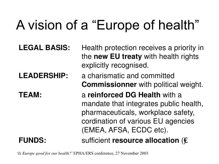 """A vision of a """"Europe of health"""""""