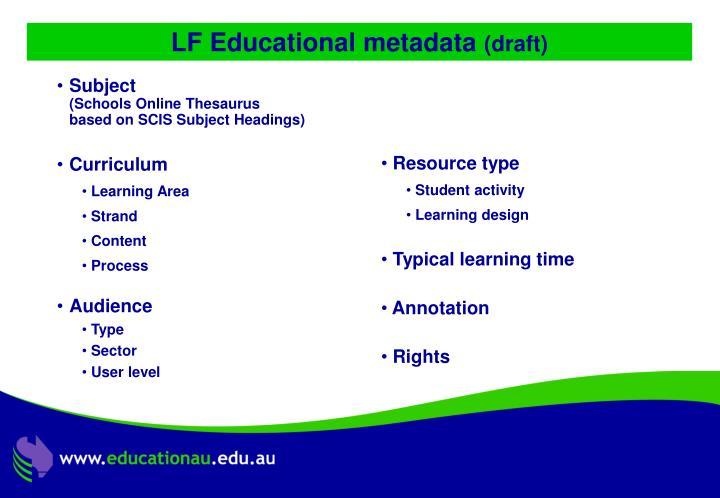 LF Educational metadata