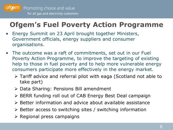 Ofgem's Fuel Poverty Action Programme