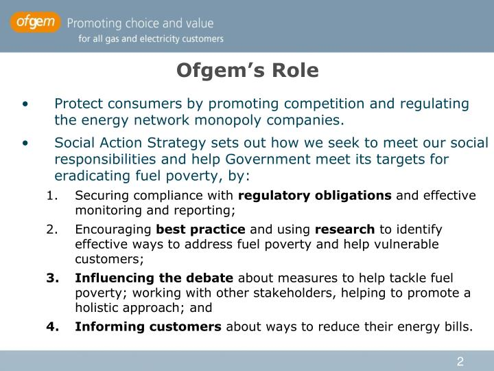 Ofgem s role