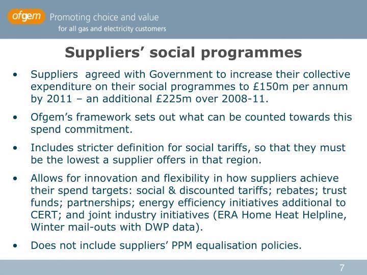 Suppliers' social programmes