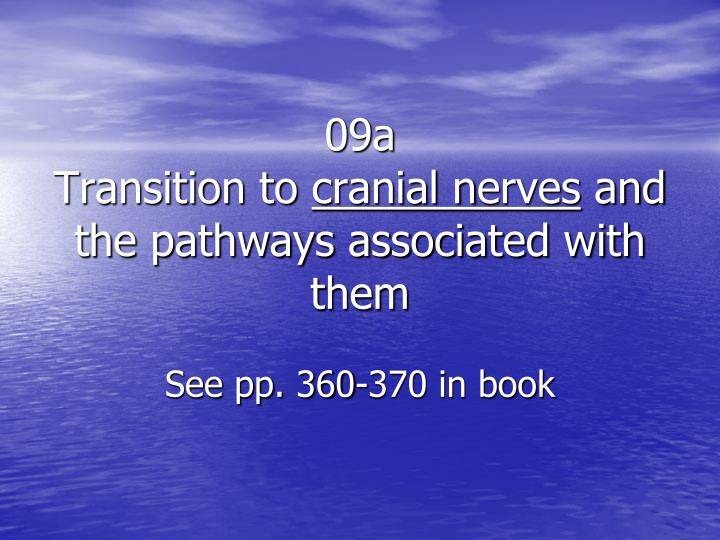 09a transition to cranial n erves and the pathways associated with them see pp 360 370 in book