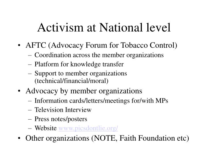 Activism at National level
