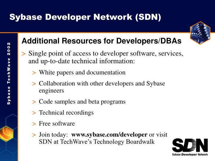 Sybase Developer Network (SDN)