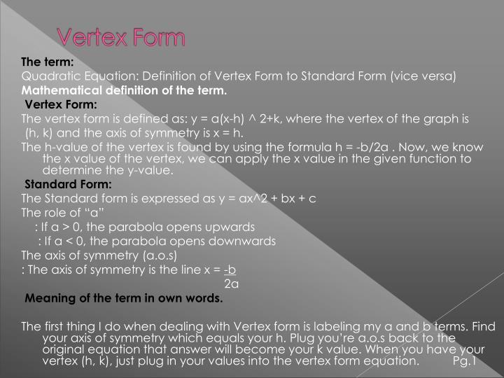 Ppt Intro Pg1 3 Standard Form To Vertex Form Jesus Pg 4 11