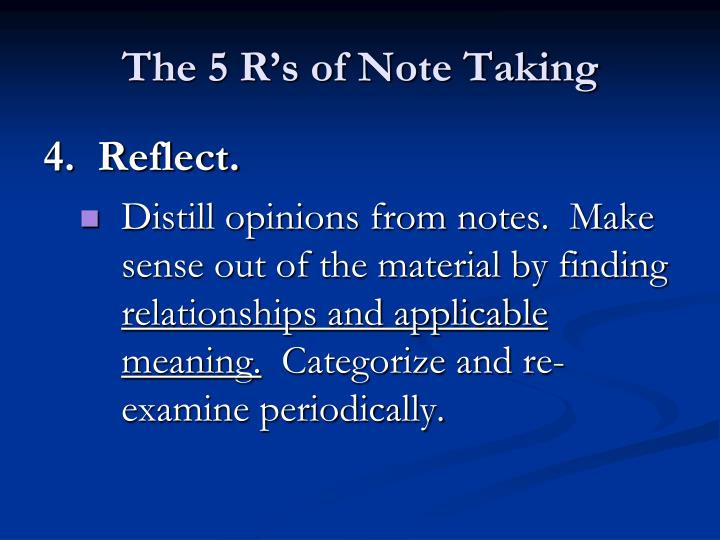 The 5 R's of Note Taking