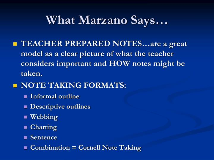 What marzano says