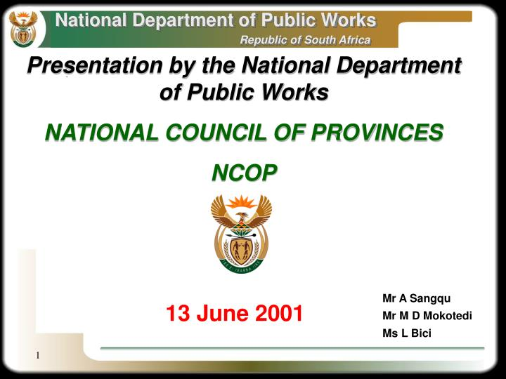 Presentation by the National Department of Public Works