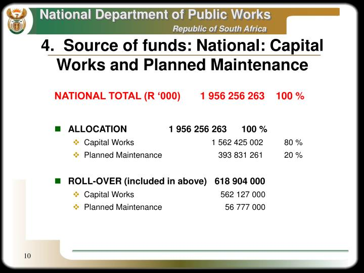 4.  Source of funds: National: Capital Works and Planned Maintenance