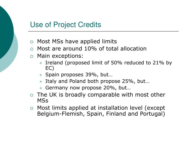 Use of Project Credits