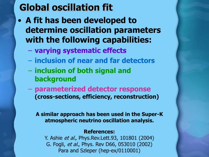 Global oscillation fit