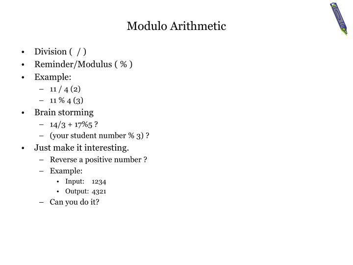 Modulo Arithmetic