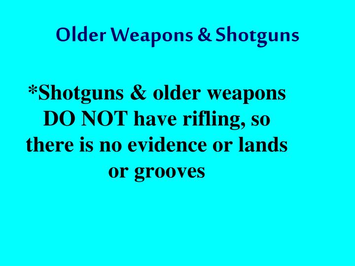 Older Weapons & Shotguns