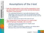 assumptions of the t test