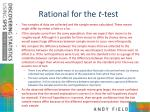 rational for the t test