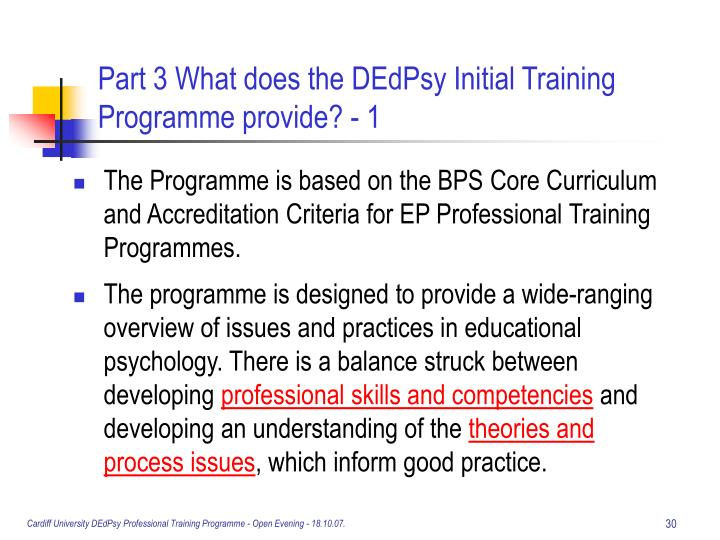 Part 3 What does the DEdPsy Initial Training Programme provide? - 1