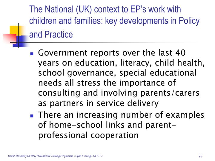 The National (UK) context to EP's work with children and families: key developments in Policy and Practice