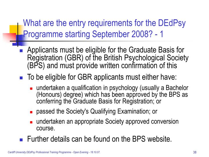 What are the entry requirements for the DEdPsy Programme starting September 2008? - 1