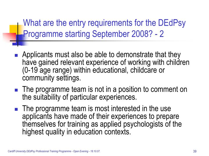 What are the entry requirements for the DEdPsy Programme starting September 2008? - 2