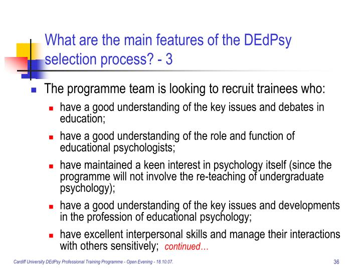 What are the main features of the DEdPsy selection process? - 3