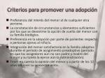criterios para promover una adopci n