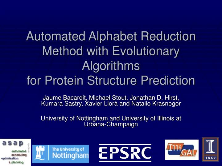 Automated alphabet reduction method with evolutionary algorithms for protein structure prediction
