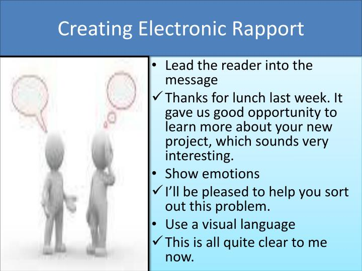 Creating Electronic Rapport