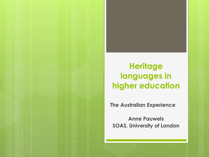 heritage languages in higher education n.