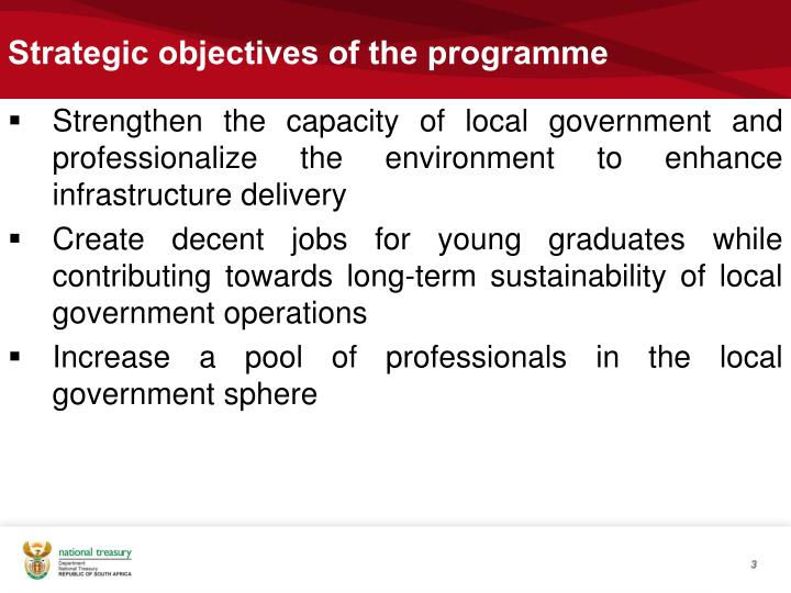 Strategic objectives of the programme