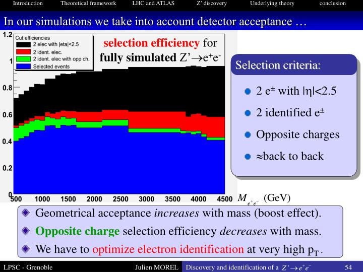 In our simulations we take into account detector acceptance …