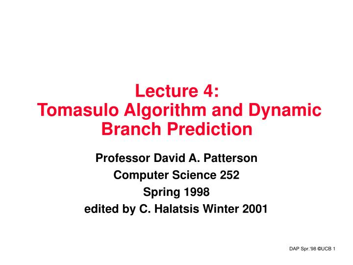 lecture 4 tomasulo algorithm and dynamic branch prediction n.