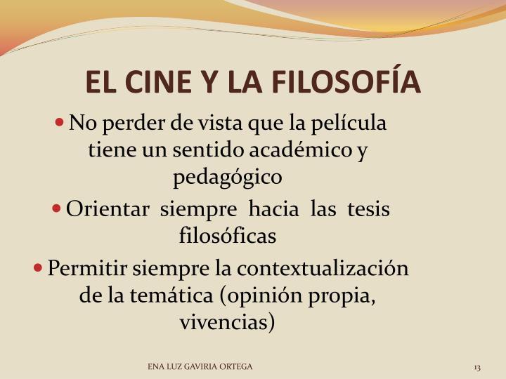 EL CINE Y LA FILOSOFÍA